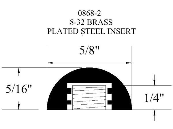 0868-2 Brass Plated Steel Insert Rubber Bumper