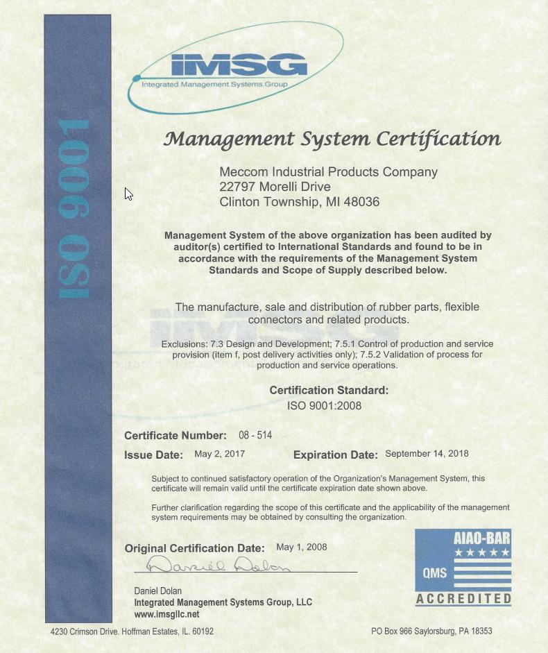Meccom ISO Certificate